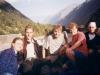 W drodze na Elbrus, od lewej Andrea Kretzer-Mossner i Martin Kuehnl, Piotr Słomski, Bartek Wróblewski, NN, 24 VIII 1998
